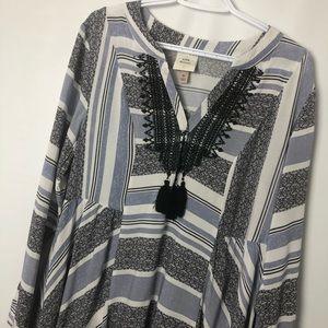 Knox Rose boho white blue embroidered tunic Sz XL